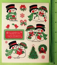 VTG 70s 1978 Hallmark Sticker Sheet~Snowman~Christmas Happy Holidays Seals~Birds