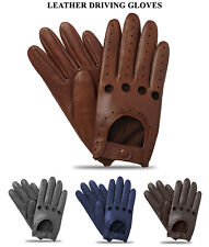 Men's Classic Retro Style Chauffeur Soft Lambskin Quality Leather Driving Gloves