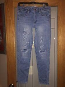 American Eagle Jegging Sz 12 Skinny Jeans Super Stretch Distressed Light Wash