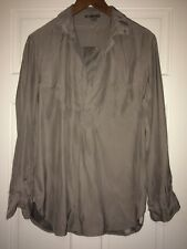 vince. Gray Silk Long Sleeve Pullover Blouse XS