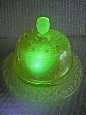 VINTAGE CUSTARD GLASS MOSSER OHIO CHILDS LIDDED ROUND BUTTER DISH DOMED LID