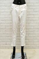 Pantalone TRUSSARDI Donna Taglia 42 Jeans Pants Woman Cotone Slim Bianco Corto