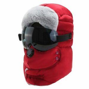 Winter Sport Hat For Men Warm Bomber Ski Cap Trapper Balaclava With Goggles