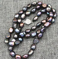 Natural 7-8mm Black Akoya Cultured Baroque Pearl Necklace 18''