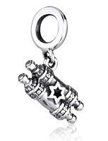 Silver Torah Scroll Charm - Fits European Style Bracelet - Jewish Star of David