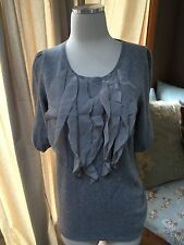 Ann Taylor Gray 100% Cashmere Ruffle Front Half Sleeve Sweater Small EUC