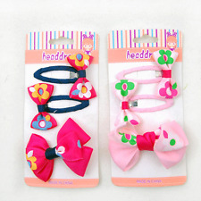 New 2 pack Girls Bow Flowers Ribbon Hair Clips 3 pcs set , total 6 piece