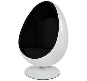 Eero Saarinen Style Egg Pod Chair Retro Funky White Shell Black PU Interior