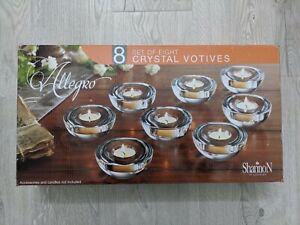 NEW Allegro Crystal Votives Shannon Crystal By Godinger Set of 8 Tealights