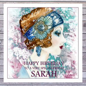BIRTHDAY CARDS ART DECO LADY FRIEND MUM WIFE DAUGHTER SISTER GRANDDAUGHTER NIECE