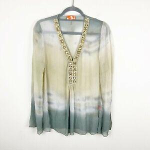 Hale Bob Cabana Silk Top Women's Size Medium Sheer Ombre Long Sleeve