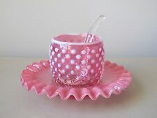 Fenton Hobnail Cranberry Opalescent Jam Jelly Jar w/ Underplate & Glass Spoon