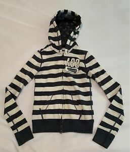 Abercrombie hoodie boys size medium gray and white striped longsleeve (Shi1180i)