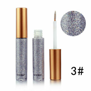 Silver Grey Glitter Liquid Eyeliner Metallic Shiny Smoky Eyes Waterproof Makeup