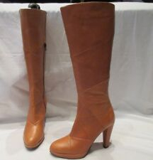BERTIE TAN LEATHER HIGH CALF PULL ON BOOTS UK 5 EU 38 (3356)