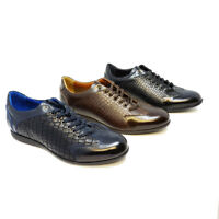 Futoli - Men Handmade Genuine Leather Fashion Casual Trendy Lace up  Sneakers