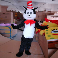 Dr.seuss The Cat in The Hat Mascot Costume Black Cat Fancy Dress Adult Free Ship