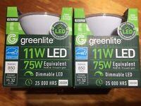 2 pack Greenlite LED Outdoor Flood Light Bulb, weatherproof  75 watt!!!