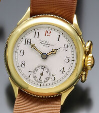 Rare 14K Yellow Gold Waltham Military Watch CA1940s 15 Jewel Manual Wind