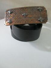 King Baby Studio iron cross brass metal black leather jeans belt 36 38 nwot new