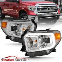[LED Bar]For 14-18 Toyota Tundra SR SR5 Limited TRD Chrome Projector Headlights
