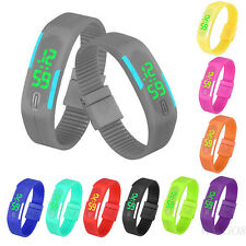 Fashion Mens Womens Digital LED Sports Watch Bracelet Rubber Date Wrist Watches
