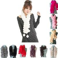 Women Scarf Rabbit Fur Scarf Girls Casual Fur Scarves Fur Ball Velvet Scarf