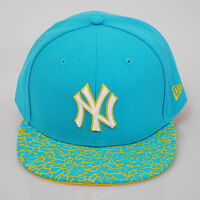 New Era 59fifty NY New York Yankees Crackle Visor Ice Blue Flat Peak Fitted Cap