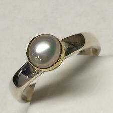 Natural Freshwater Cultured Pearl 925 Solid Sterling Silver Marquise Ring 6.75