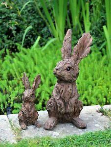 Garden Ornament Rabbit Hare Sculpture Indoor Outdoor Wood Effect 37cm and 19cm