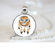 Dove Dreamcatcher PENDANT NECKLACE Chain Glass Tibet Silver Jewellery