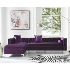 Posh Living Levi Velvet Tufted with Silver Y-leg Chaise Sectional Sofa - Purple