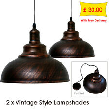 2 xVintage Industrial Loft Style Metal Ceiling Hanging Pendant Light Lamp Shades