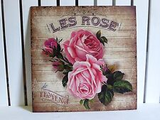 VINTAGE METAL PINK ROSE SIGN FRENCH LES ROSE FLORAL SHABBY WALL CHIC PLAQUE