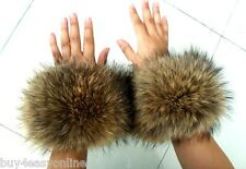 Big Size Genuine Natural Raccoon Fur Women Cufflinks Sleeve Cuffs Handmade Loops