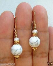 Beads 14K Gp Leverback Earrings Fashion Handmade Turkey Howlite White Turquoise