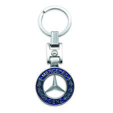 New Key Chain Metal Chrome Blue Fits Mercedes Benz All 2000 - 2018