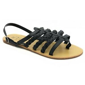 Ladies Flat Buckle Sandals Toe Post Gladiator Summer Shoe Size 2 3 4 5 6 8 Black