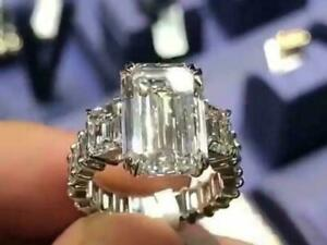 Dashing 9 Ct Solitaire Emerald Cut Cocktail Party Ring In 925 Silver For Women