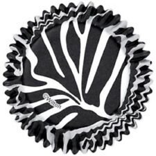 NEW WILTON BLACK AND WHITE ZEBRA PRINT CUPCAKE LINERS BAKING CUPS FAVORS PARTY