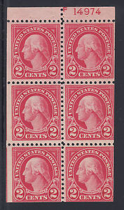 US Sc 554c MNH. 1923 2c Washington Booklet Pane with 100% Plate No. 14974