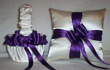 Ivory Cream Satin / Regency Purple Trim Flower Girl Basket & Ring Bearer Pillow