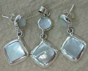 100% REAL 925 STERLING SILVER Mother Of Pearl  Earrings & Pendant (set) WOMEN