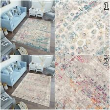 Vintage Area Rug Blue Pink Floral Decorative Bedroom Living Room Soft Rugs S-XXL