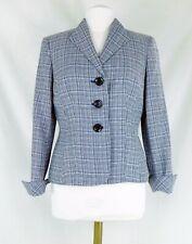 Kasper Separates Navy Blue/White Check Short Blazer Fully Lined Size 8 PRISTINE!