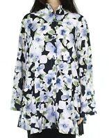 Trisha Tyler Womens Blouse Blue 2X Plus Button Down Floral Wire-Collar $128 352