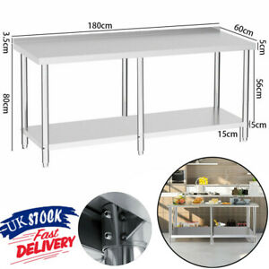 6FT Commercial Stainless Steel Table Work Bench Kitchen Worktop Backsplash 6Feet