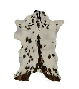 GOAT HIDE, ANIMAL SKIN SOFT HAIR-ON LEATHER RUG, COWHIDE - Brown & WHITE