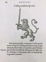 Rare Gravure Lion 1557 Épée Truie Prostitution Pompée César Porc Cochon