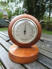 LOVELY VINTAGE WOOD & BRASS NAUTICAL STYLE DESK TOP THERMOMETER BY WEST COUNTRY